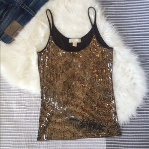 Michael Kors 💛 Sequin Brown Rayon Tank Small